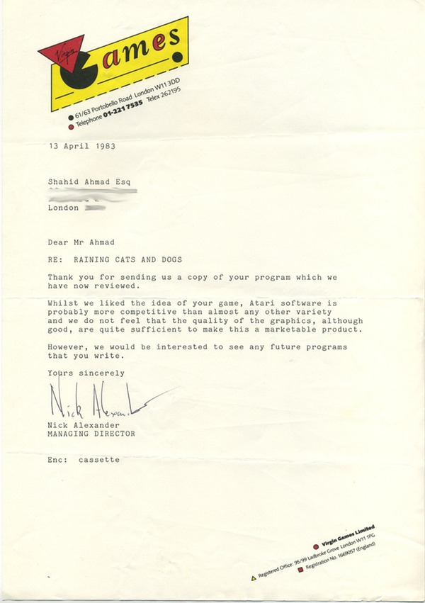 Letter from Virgin Games rejecting Raining Cats and Dogs