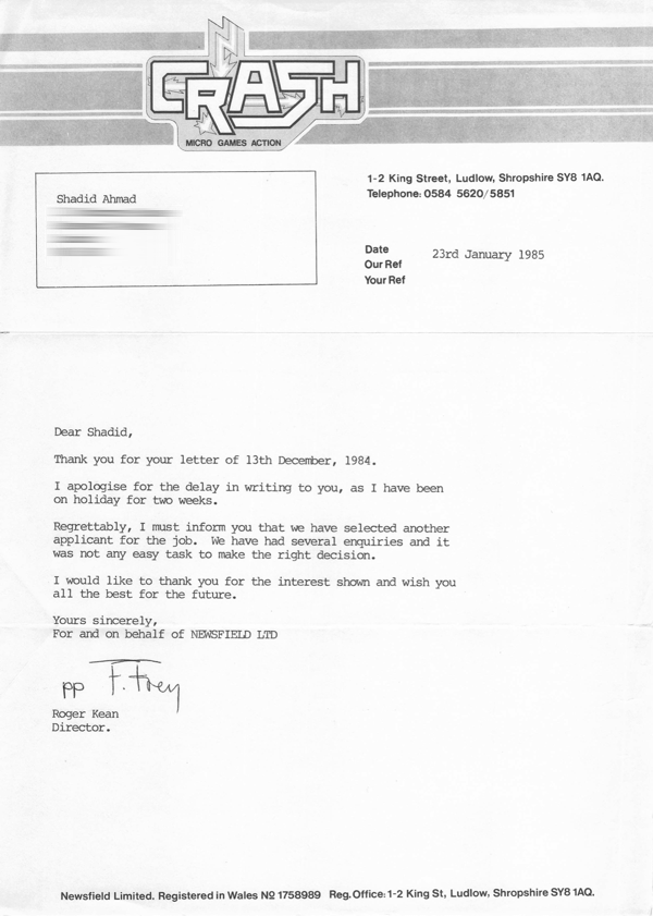 1985 01 23 Crash Job Refusal letter