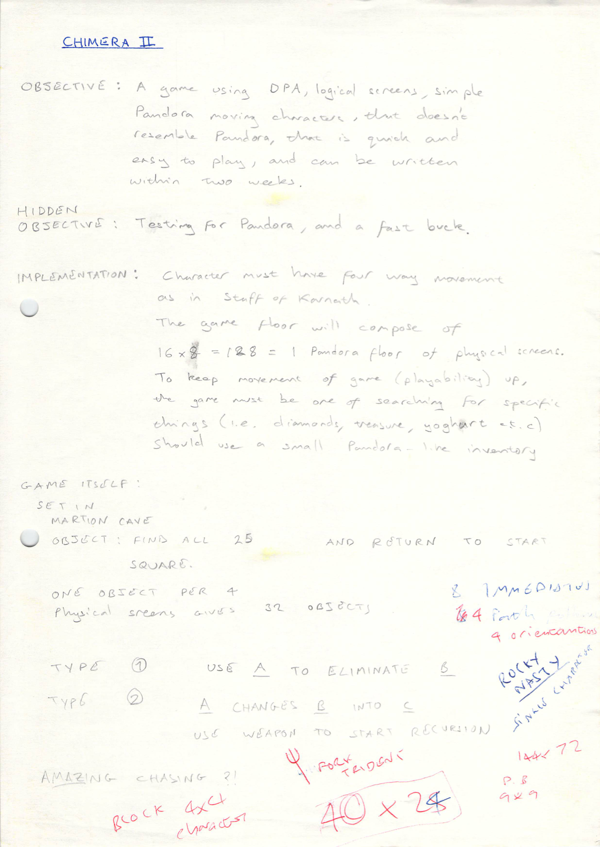 1985 Chimera II Design Notes 1